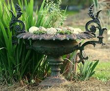 """Rococo Victorian garden urn, cast iron, JW Fiske, NY, 32"""" w,"""