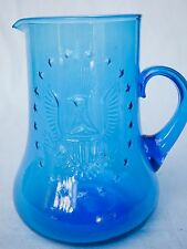 MARINE Blue Glass Pitcher, EARLY AMERICAN