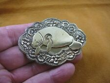(B-MANA-3) Manatee I love manatees sea cow dugong lover flower brass pin pendant