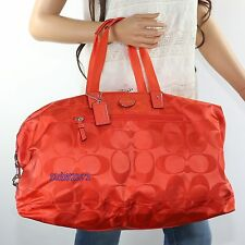 NWT Coach Getaway Signature Nylon Travel Gym Duffle Tote Bag F77469 Hot Orange