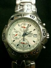Men's SEIKO 7T62-0CF0 Quartz Chronograph Alarm Stainless White Dial Watch 100M