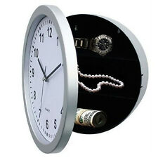 Silver Wall Clock With Secret Hidden Compartment Safe Money Stash Jewellery New
