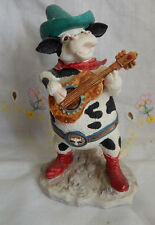 """HOME ON THE RANGE RUSS COW WITH GUITAR 4 3/4"""""""