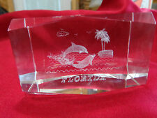 """CRYSTAL WITH FLORIDA IMAGES INSIDE   2"""" BY 3""""  WITH BOX  weighs one pound"""