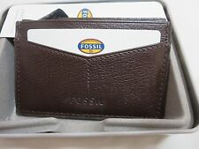 Men's FOSSIL OMEGA Dark Brown LEATHER Card Case Wallet ML3533201