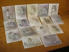 15 Lot ROLLAND HENDRICKSON ANTIQUE DOLL Offset COLORED LITHOGRAPH PRINTS Estate
