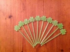 10 x shamrock Irish drinks stirrer stirrers Swizzle stick