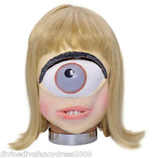 One Eyed Alien Girl Mask Rubber Full Head With Hair Adult Size Fancy Dress