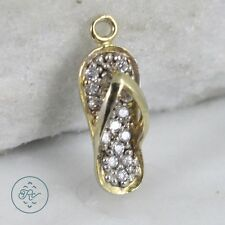 Sterling Silver   Gold Plate Crystal Pave Flip Flop 1.4g   Charm Pendant LF6263
