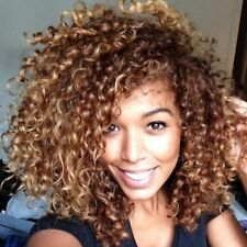 Shaggy Afro Curly Brown Mixed Capless Vogue Women Heat Resistant Fiber Wig Hair