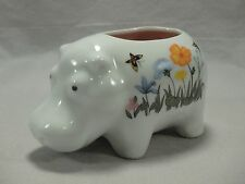 Andre Richard Porcelain Floral Hippo Hippopotamus Candle Holder Figurine Japan