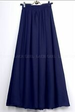Women Retro Double Layer Chiffon Pleated Elastic Waist Long Maxi Dress Skirt