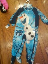NEW LOT OF 2 DISNEY FROZEN OLAF FLEECE BLANKET SLEEPERS FOOTED SIZE 4T