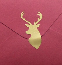 40 Deer Stickers, stag head, buck decals, gold envelope seal, hunting decals