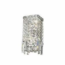 "2 Light Chrome Finish D 6"" H 13"" Cascade Clear Crystal Wall Sconce Light Modern"