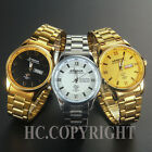18K Gold Plated Silver Stainless Steel Black/Golden Dial Quartz Men Casual Watch