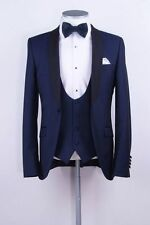 Custom Navy Wedding Men Suits Shawl Lapel Formal Gent Groom Tuxedos Best Man