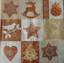 4 X Solo Papel Servilletas Decoración de Navidad Estrellas Corazón Decoupage Artesanía 73