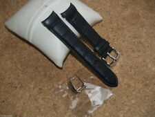 QUALITY 22mm BLACK CROC GRAIN LEATHER WATCH STRAP WITH CURVED ENDS & 2 BUCKLES