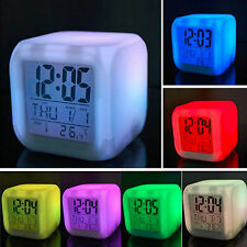LED Digital Colorful Alarm Clock Thermometer Glowing in the Dark Children Clock
