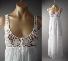 Crochet Doily Empire Waist Embroidered Lace Peasant Long Maxi 129 ac Dress L