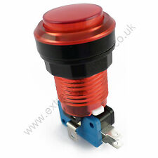 28mm Round 5v LED T10 Bulb Arcade Button & Microswitch (Red) - MAME, JAMMA