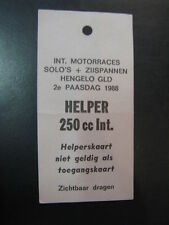 Ticket Int. Motorraces Solo's + Zijspannen Hengelo Gld 2e Paasdag 1988 helper