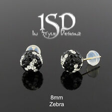 14k Gold Women's 8mm Swarovski Elements Zebra Crystal Disco Ball Studs Earrings