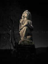 ANGEL CHERUB STATUE GRAVEYARD CHILD PHOTO ART PRINT POSTER PICTURE BMP2318A