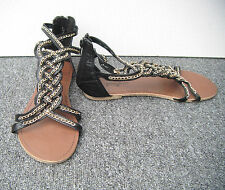 """New Look """"Generation"""" Black Strappy Sandals with Gold Chain Size 6/39"""