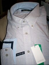 NWT $70 NAUTICA MENS 100'S TWO PLY BUTTON DOWN BLUE/TAN PLAID L/S SHIRT-medium