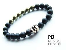 Men Onyx Matt/Pyrite Skull Bracelet with Swarovski Crystal 7-8inch Elasticated