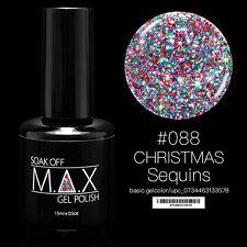 MAX 15ml Soak Off Gel Polonais Nail Art UV LED Couleur # 088 - Sequins de Noël