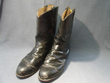 MENS TONY LAMA  BLACK LEATHER COW BOY BOOTS SIZE 9 1/2D    7701M