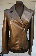 NEW $2390 AKRIS Punto Bronze Toffee Leather Moto Jacket Perforated Metallic 42 6