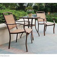 3-Piece Outdoor Bistro Sling Patio Chairs Steel Frames Set Seats 2 Glass Table