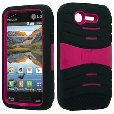 Hybrid Armor Cover Case with Kickstand for LG Optimus Fuel L34C Phone