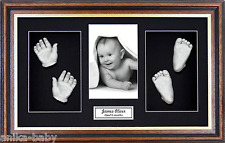 New Twins Girl Boy Large 3D Baby Casting Kit Silver HandFoot Mahogany/Gold Frame