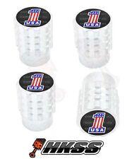 4 Aluminum Tire Air Valve Stem Caps Car Truck Bike Silver - USA FLAG #1 B G6N