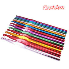 14pcs multicolour Aluminum Crochet Hooks Set with Case Yarn Knit Craft  2-10mm F