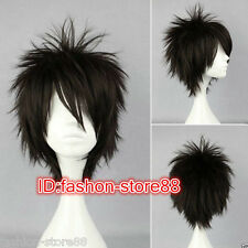 New Men Boy Black Short Layered Fringe Punk Rock Hair Wigs+ Wig cap