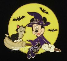 Disney LE 350 Pin VHTF HALLOWEEN WITCH MINNIE FIGARO Broom Cat Large Moon Glows