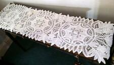 Antique Table Runner Italian Battenburg Lace Drawn Work Linen Center 68x16