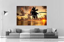 Palmier Plage Coucher de Soleil Palm Sunset Beach Poster Grand format A0