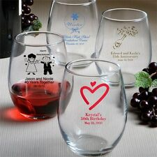 25 Personalized Stemless Wine Glasses Wedding Favor 9 oz Reception Gift Party