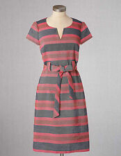 NEW $148 BODEN NOTCH NECK STRIPED MULTICOLOR TIEWAIST SHIFT DRESS WH458 - US 14R