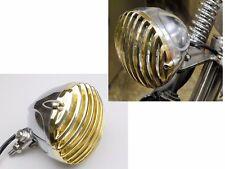 Chrome/Gold Scalloped Brass Finned Grill Harley Sportster Dyna Bobber Cafe Racer