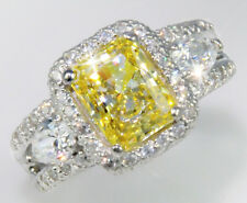 2.5 ct Radiant Canary Ring Top AAAAA CZ Imitation Moissanite Simulant SS Size 7