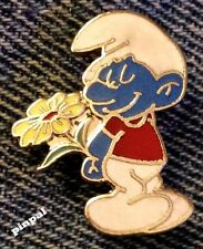 Smurf Brooch Pin~with Flower~1980 Vintage Cloisonne~Peyo~NOS~New Old Stock