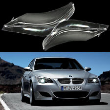 Pair Headlight Headlamp Clear Lens Covers Left+Right for BMW E60 E61 5 Series